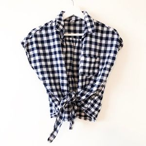 Old Navy Gingham Tie-Front Shirt